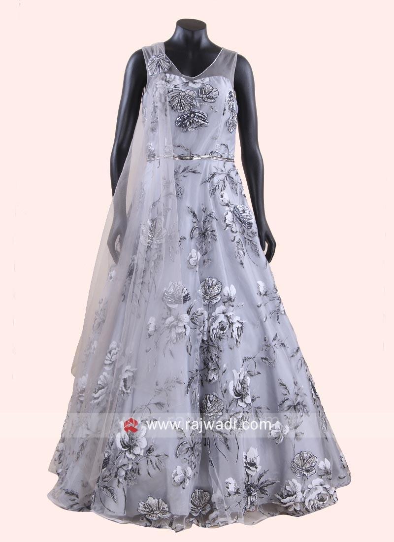 Tissue Silk Flower Work Gown