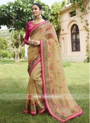 Tissue Silk Flower Work Sari in Light Peach