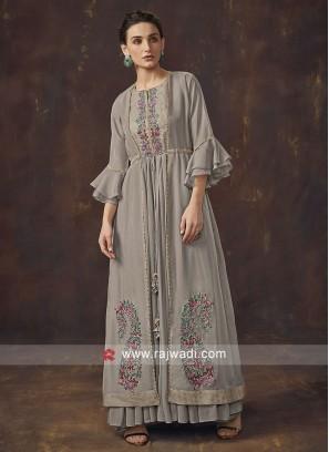 Tissue Silk Jacket Style Salwar Suit