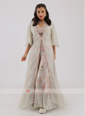 Tissue Silk Palazzo Suit With Shrug