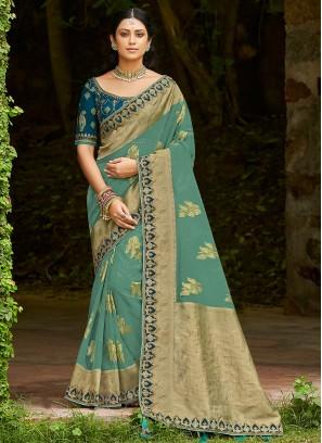 Tissue Weaving Traditional Designer Saree in Blue
