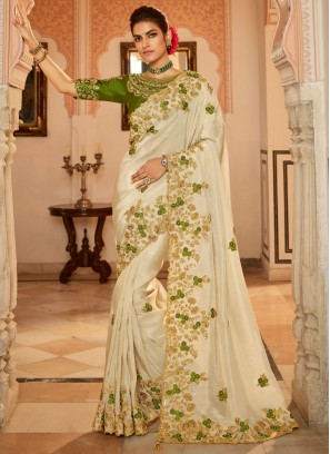 Titillating Fancy Fabric Embroidered Cream Traditional Designer Saree