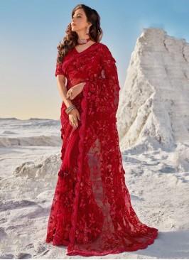 Titillating Red Net Classic Saree