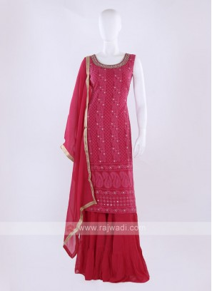 Tomato color Gharara Suit with dupatta
