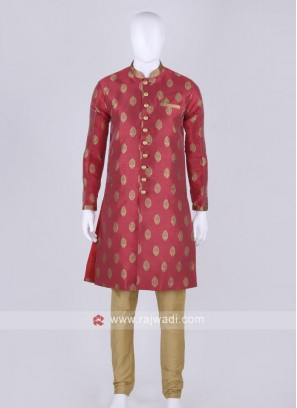 Tomato red and golden kurta pajama