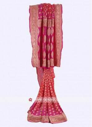 Tomato red and pink chiffon saree