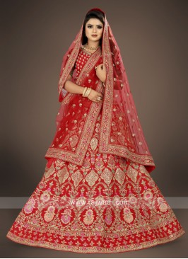 tomato red color Lehenga Choli