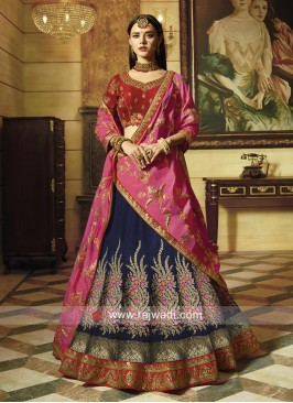 Traditional Art Silk and Raw Silk Lehenga Set