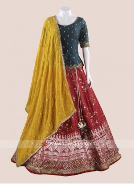 Traditional Art Silk Weaving Choli Suit