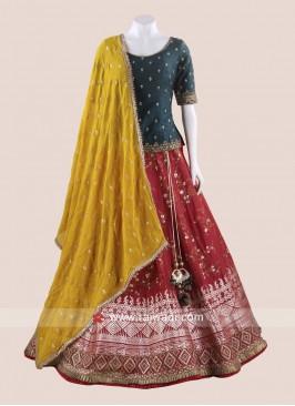 Traditional Art Silk Weaving Choli Suit