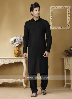 Traditional Black Color Pathani Suit