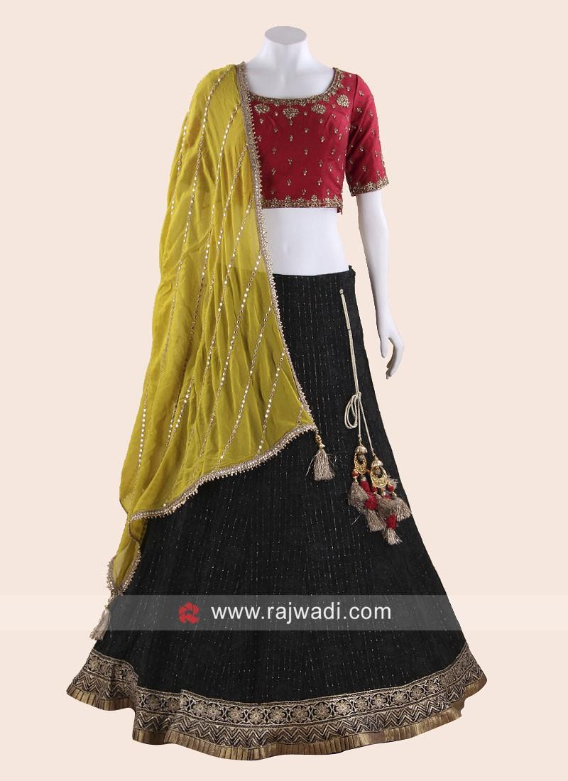 Traditional Chiffon and Raw Silk Choli Suit