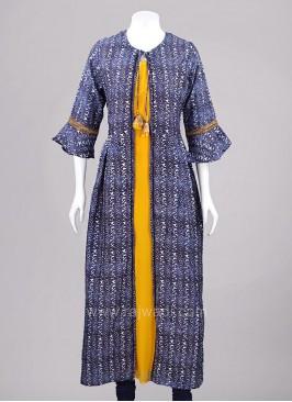 Traditional Chiffon Silk Jacket Style Bell Sleeves Kurti