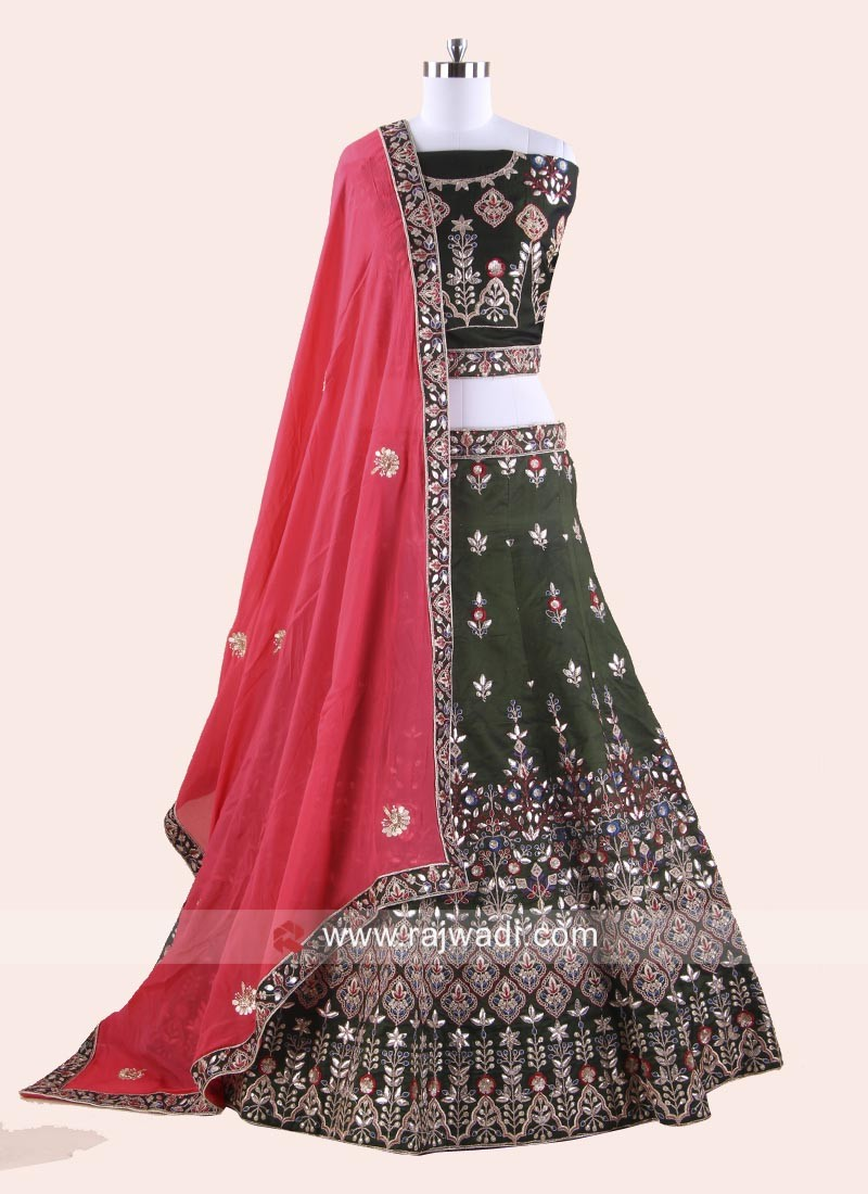 Traditional Embroidered Lehenga Set with Dupatta