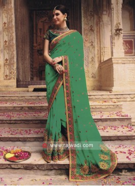 Traditional Embroidered Saree with Blouse