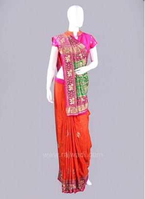 Traditional Figure Embroidered Patola Sari