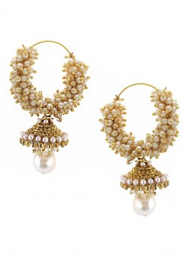 Traditional Gold Plated Pearl Hoop Jhumki Earrings