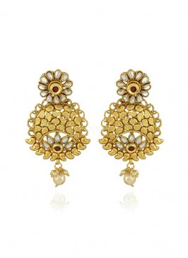 Traditional Golden Chandbali Jhumki Earrings