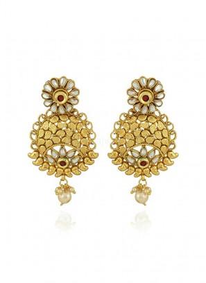Traditional Golden Chandbali Jhumki Earrings