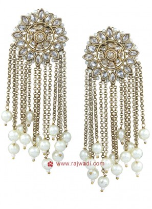 Traditional Golden Circular Drop Earrings