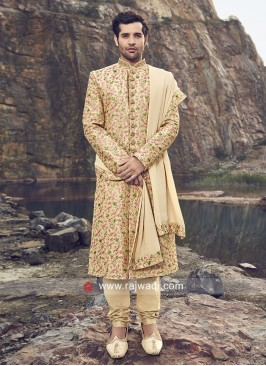Traditional Golden Groom Sherwani With Dupatta