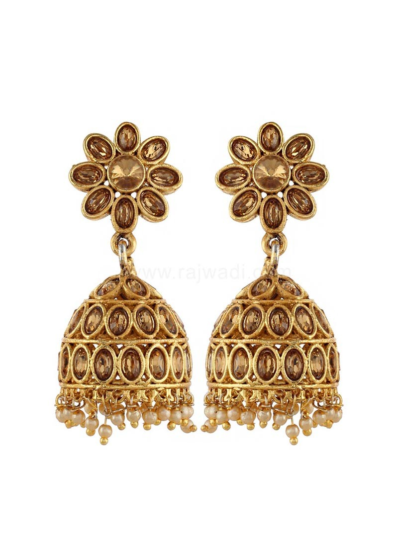 Traditional Golden Jhumki Earrings