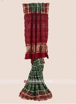 Traditional Green and Maroon Bandhani Saree