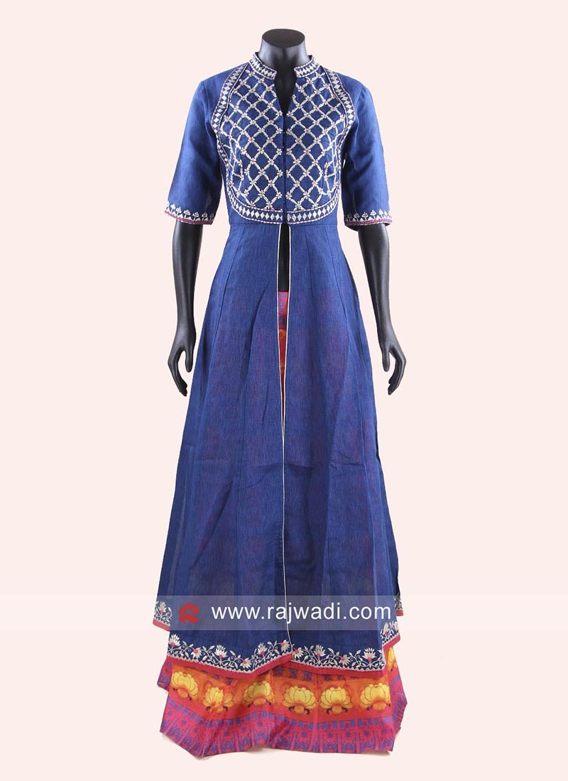 Traditional Indo Western Lehenga and Long Choli