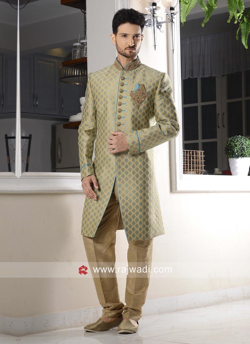 Traditional Jacquard Silk Fabric Indo Western
