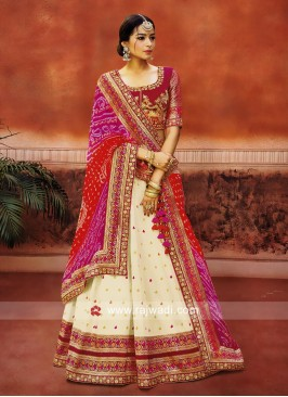 Traditional Lehenga Choli with Bandhani Dupatta
