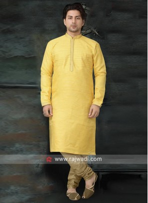 Traditional Yellow Color Kurta Pajama