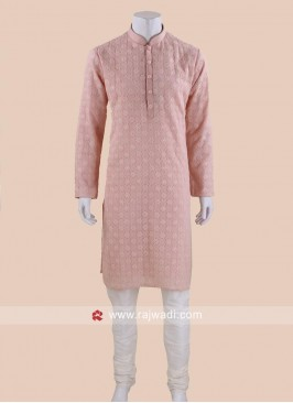 Traditional Light Peach Kurta Set