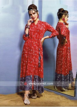 Traditional Long Kurti with Latkan