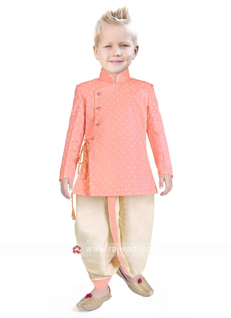 Traditional Look In Peach Color Indo Western