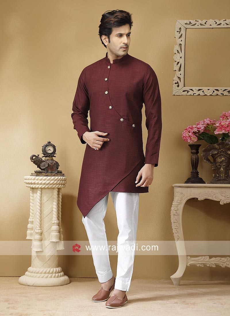 Traditional Maroon Color Kurta Set