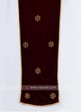 Traditional Maroon Velvet Fabric Dupatta