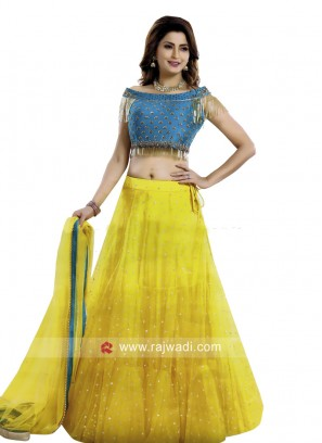 Traditional Net Lehenga Set with Dupatta