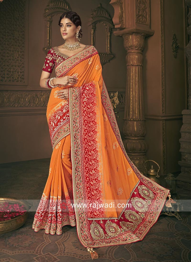 Traditional Orange and Red Saree