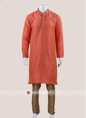 Traditional Orange Color Kurta Pajama