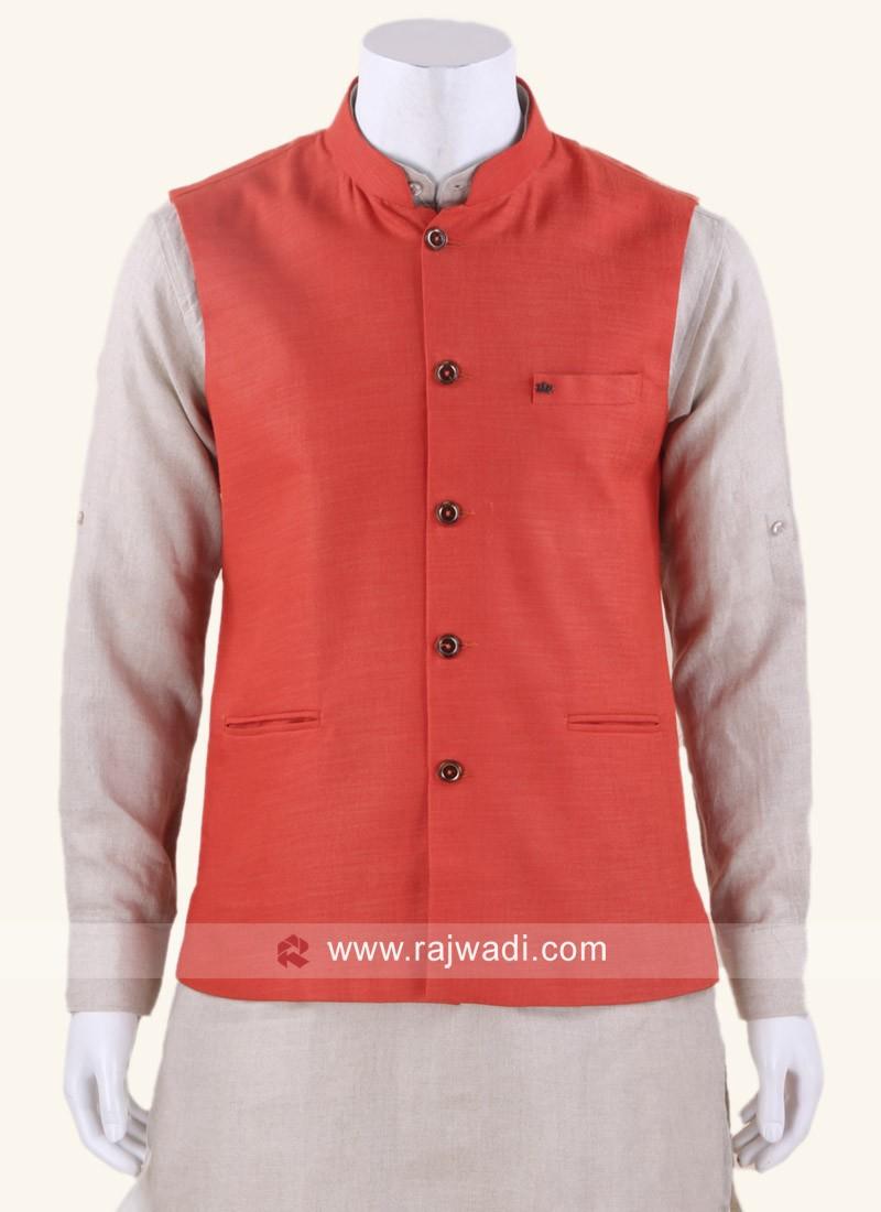 Traditional Orange Cotton Silk Nehru Jacket