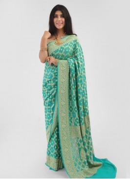 Traditional Party Wear Sea Green Chiffon Sarees