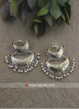 Traditional Pearl Work Chandbali Earrings