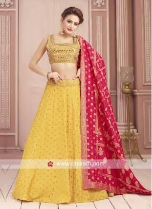 Traditional Raw Silk Choli Suit in Yellow