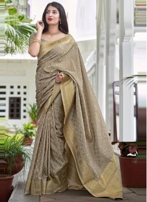 Traditional Saree Woven Satin Silk in Grey