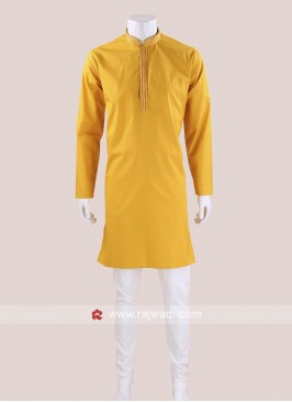 Traditional Cotton Silk Fabric Kurta Pajama