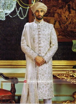 Traditional Silk Fabric Sherwani With Stylish Stole