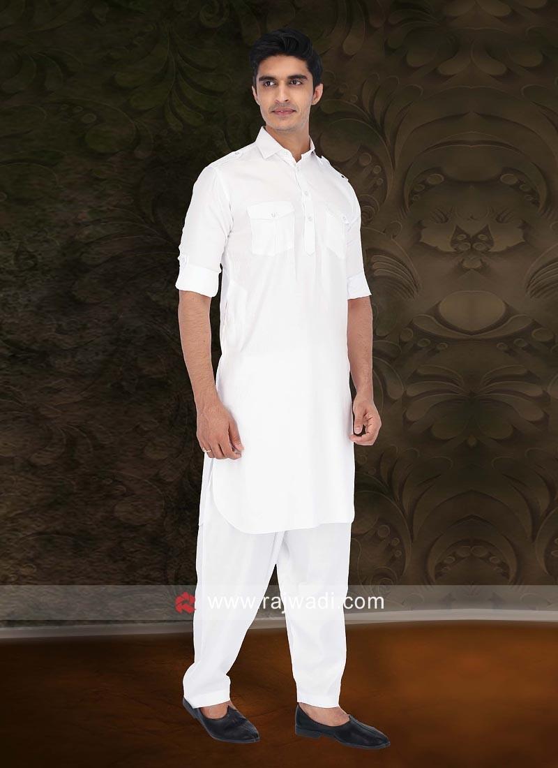 Traditional White Pathani Set