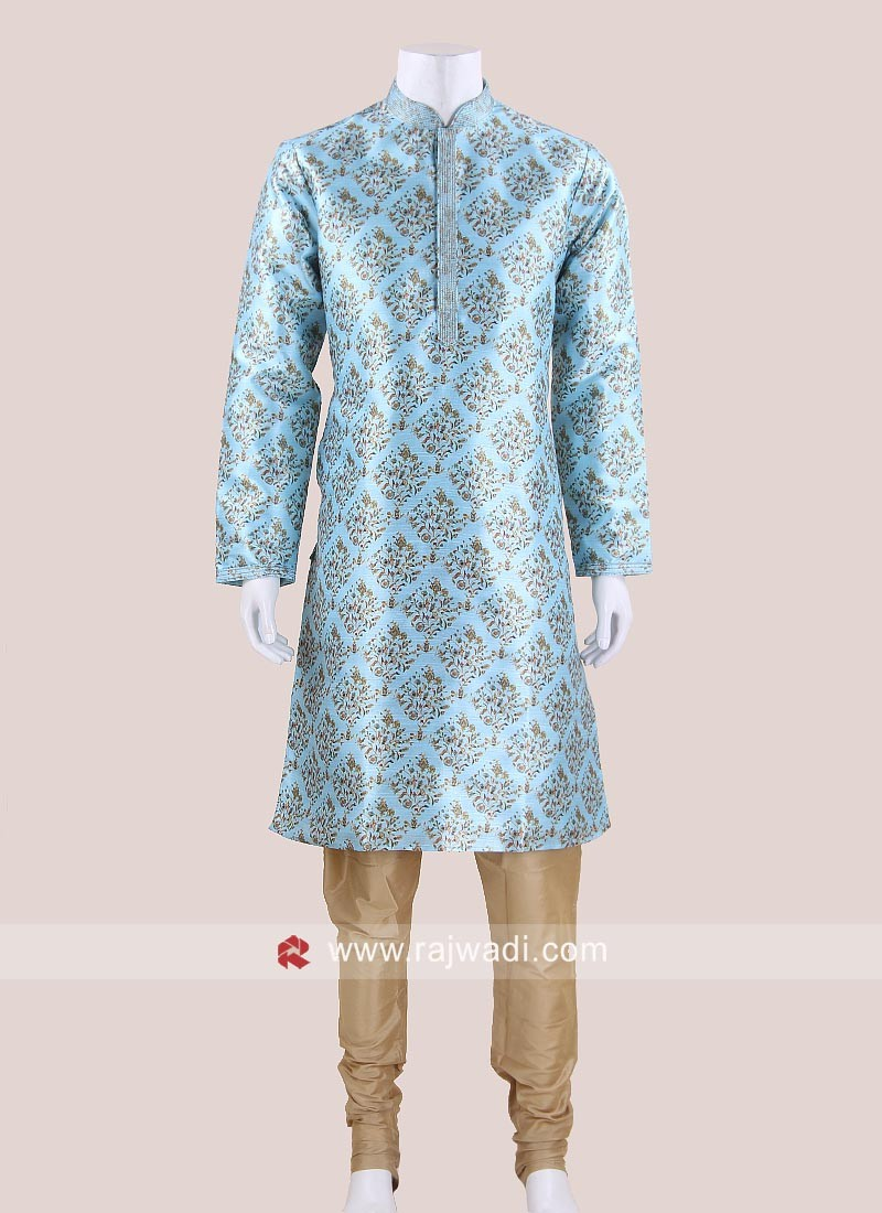 Traditional Flower Print Kurta Pajama