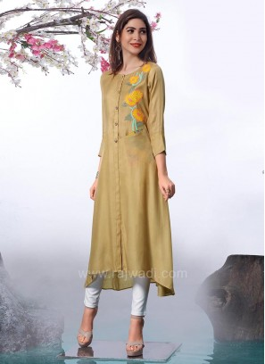 Trail Cut Paper Silk Kurti with Fancy Buttons