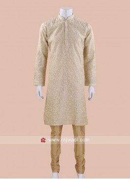 Trendy Golden Cream Kurta Pajama